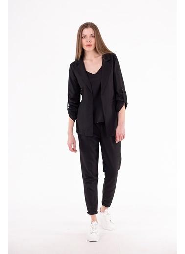 Stamina  Bayan Kolları Aparatlı Ceket-5CK01 Siyah